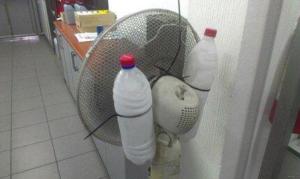 Лед в бутылях на вентиляторе