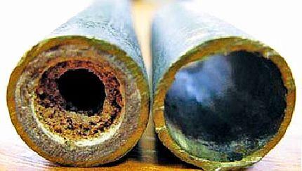 Вид трубы до и после очистки