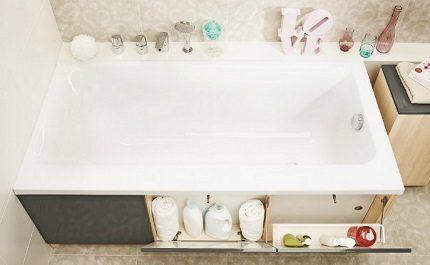 Использование пространства под ванной