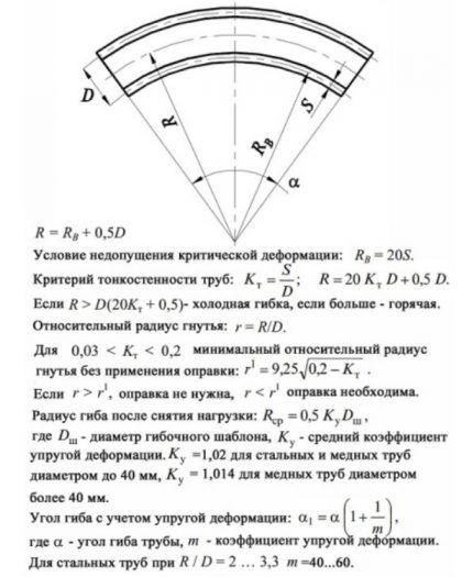 Схема и формулы для расчета гибки труб