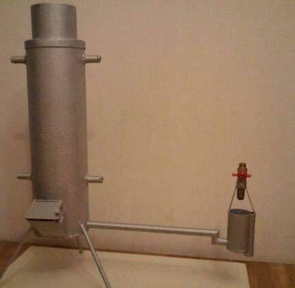 Печь на отработке с корпусом из газового баллона