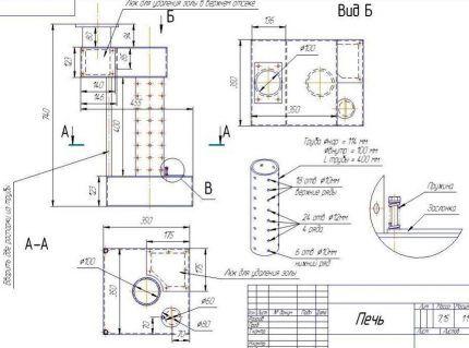 Схема для сооружения печки на отработке