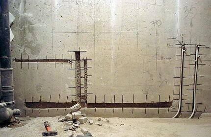 Штробление стен под трубы
