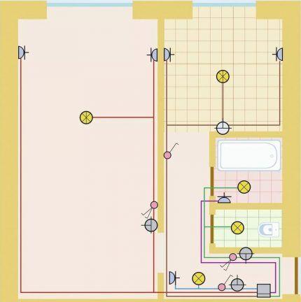 Вариант схемы проводки для 1-комнатной квартиры