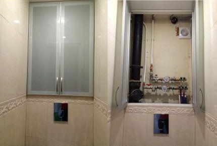 Сантехнический шкаф со стеклянными дверцами