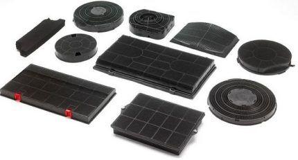 Форма, вес и размер угольных фильтров