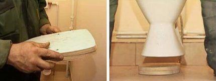 Тафта из дерева для крепления унитаза