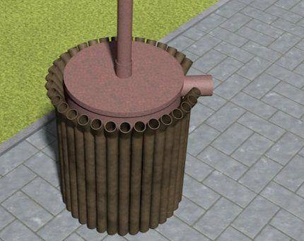 Модель теплообменника с трубами