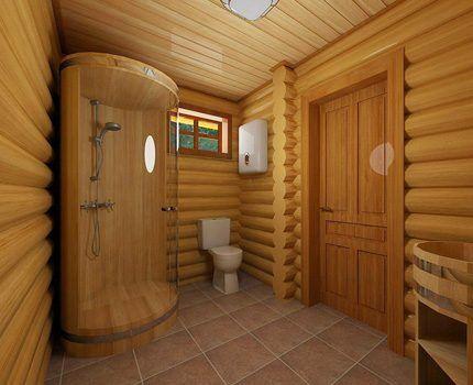 Деревянная душевая кабинка