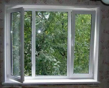 Открытое окно при работе с газом