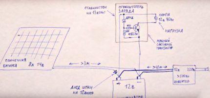 Схема подключения аппаратуры к солнечной батарее