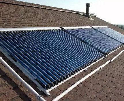 Вакуумный солнечный коллектор на крыше