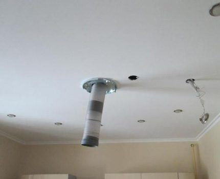 Воздуховод выходит прямо посредине потолка