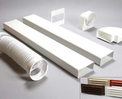 Пластиковые детали для сооружения воздуховода