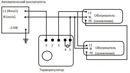 Схема подключения обогревателей через терморегулятор
