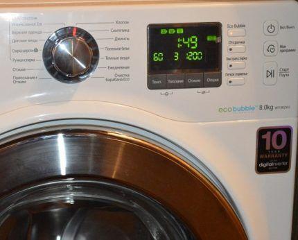 Режимы работы стирального аппарата