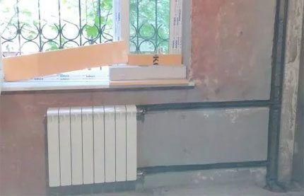 Стояк системы отопления в штрабе