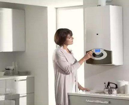 Двухконурный котел в интерьере кухни