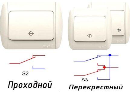 Проходной и перекрестный переключатели