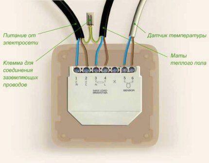 Схема подключения проводов терморегулятора