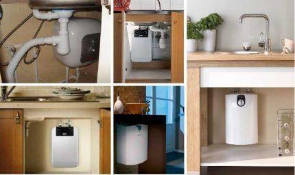 Варианты установки водонагревателей