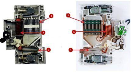 Внутри автомата выключателя