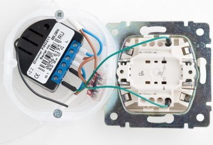 Подключенный к выключателю автономный диммер
