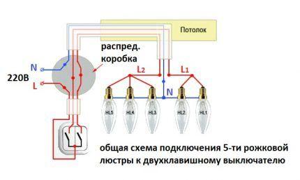 Схема подключения пятирожковой люстры