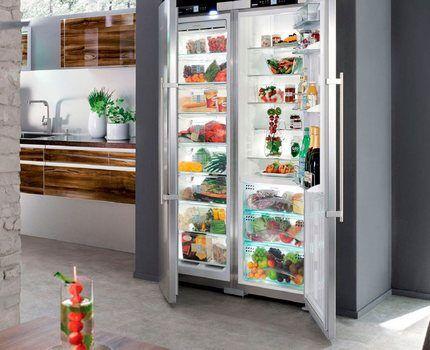 Двухдверный холодильник в интерьере