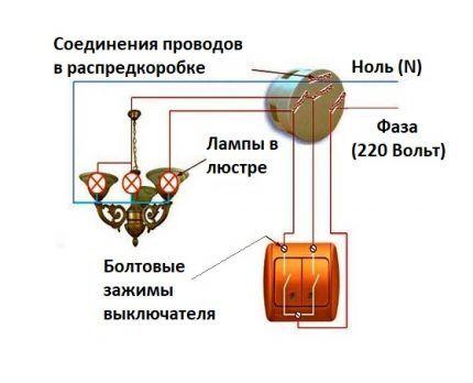 Как подключить двухклавишник к люстре