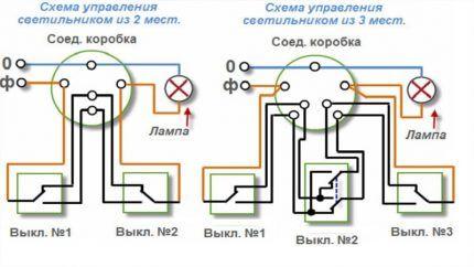 Схема управления освещением из 2 и 3 мест