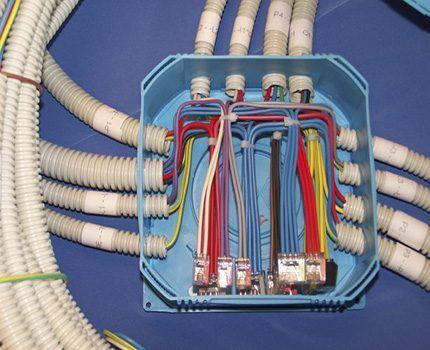 Соединение проводов в ответвительной коробке