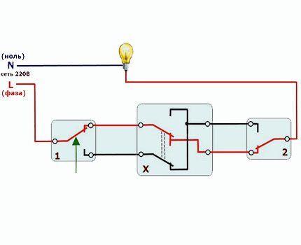 Подключение перекидного выключателя напрямую (без распаячной коробки)