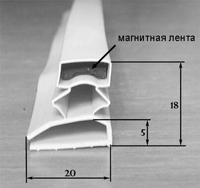 Уплотнитель дверцы холодильника с магнитной лентой