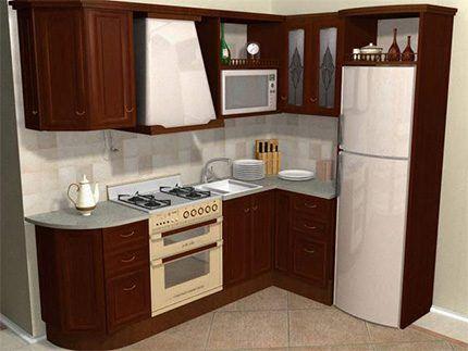 Холодильник встроен в дизайн кухни