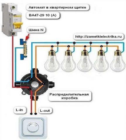 Схема подключения сенсорного выключателя