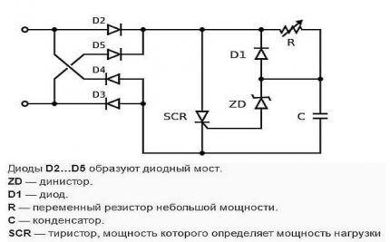 Схема диммера на тиристерах