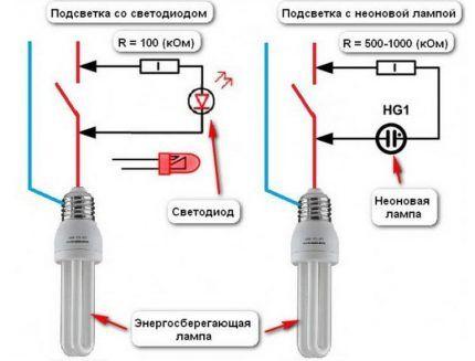 Схемы выключателей с светодиодом и неоновой лампой