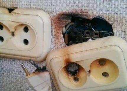 Возгорание участка электросети