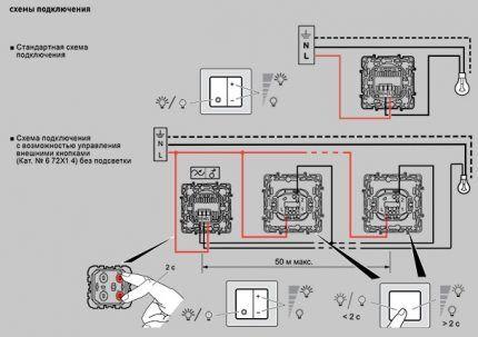 Две схемы подключения диммера