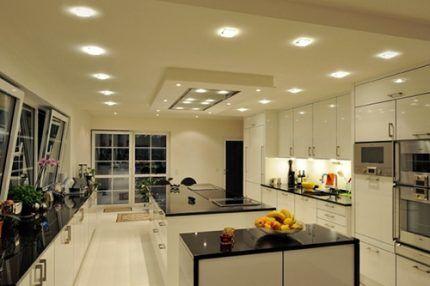 Натяжные потолки со светодиодными лампами