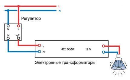 Схема подключения галогенки