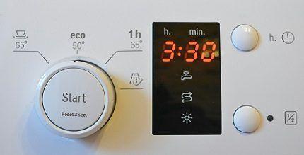 Индикатор на панели посудомойки