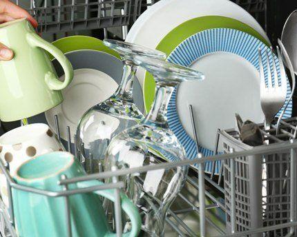 Вымытая посуда в посудомойке