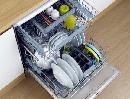 Посудомоечная машина при полной загрузке