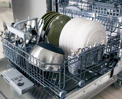 Чистая посуда в посудомоечной машине