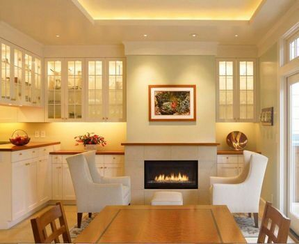 Теплое светодиодное освещение в гостиной