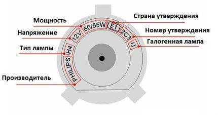 Образец маркировки на цоколе
