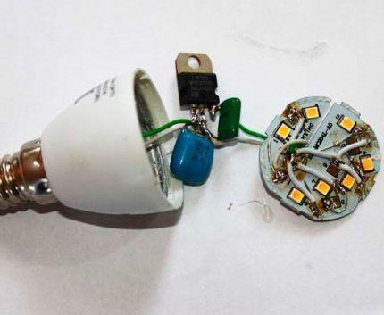 Монтажная плата лампочки
