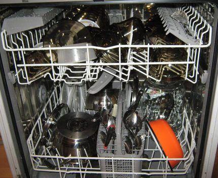 Посудомойка с загруженной посудой